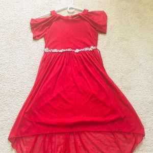 Sequin Hearts Girls cold shoulder dress